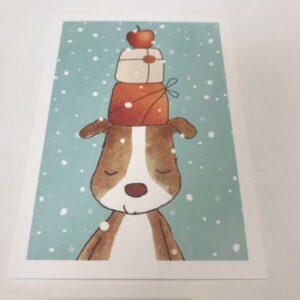 HENNA ADEL postikortti, Koira ja lahjapaketit