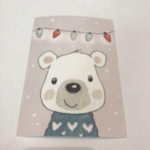 HENNA ADEL postikortti, Nalle ja jouluvalot
